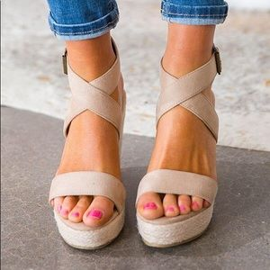 Shoes - 'The Emmy' Suede Wedges In Birch